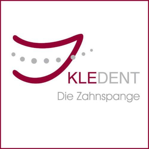 KLEDENT Logo, quadratisch mit rotem Rahmen, KLEDENT, Die Zahnspange, Fachzahnärzte für Kieferorthopädie